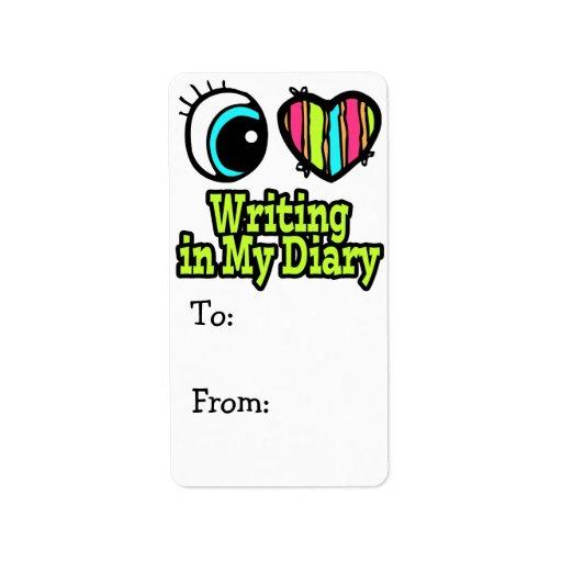 Escritura brillante del amor del corazón I del ojo Etiqueta De Dirección