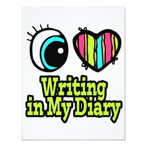 """Escritura brillante del amor del corazón I del ojo Invitación 4.25"""" X 5.5"""""""