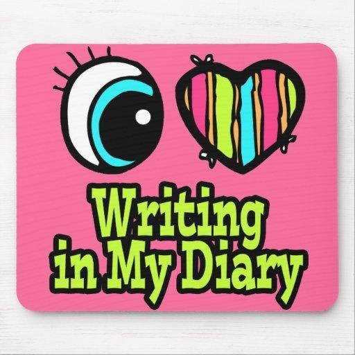 Escritura brillante del amor del corazón I del ojo Alfombrillas De Ratones