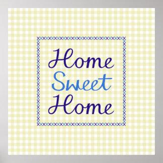 Escritura casera dulce casera en azules en la guin posters