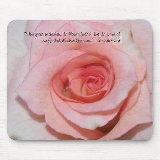 Escritura color de rosa rosada Mousepad