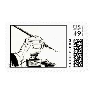 Escritura con una pluma de canilla sellos postales