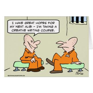 escritura creativa aliby del preso tarjeta de felicitación