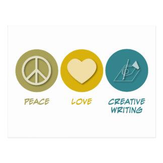 Escritura creativa del amor de la paz postal