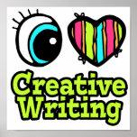 Escritura creativa del ojo del amor brillante del  poster