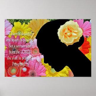 Escritura cristiana de las flores del poster de lo