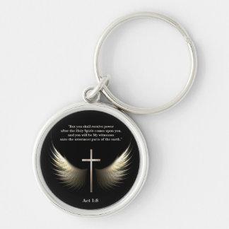 Escritura cristiana del personalizado de la cruz y llavero redondo plateado