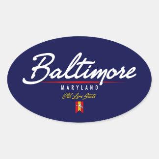 Escritura de Baltimore Pegatina Ovalada