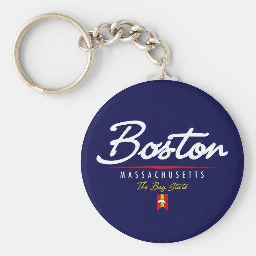 Escritura de Boston Llavero Redondo Tipo Pin