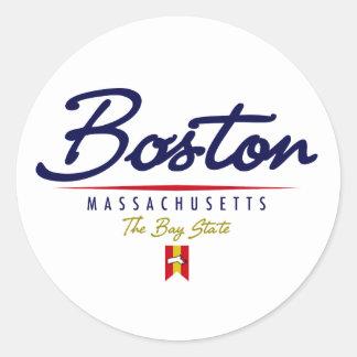 Escritura de Boston Pegatina Redonda