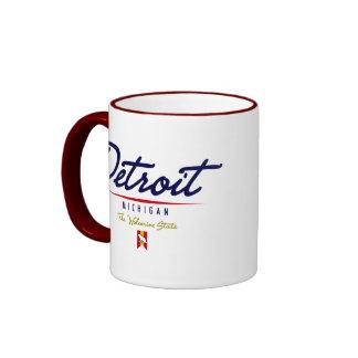 Escritura de Detroit Taza A Dos Colores