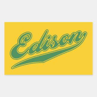 Escritura de Edison Pegatina Rectangular