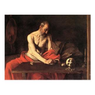 Escritura de Jerome del santo de Caravaggio- Postales