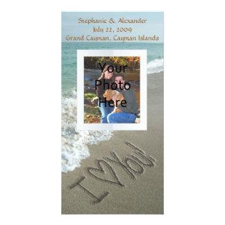 Escritura de la arena en la playa, te amo tarjetas fotográficas personalizadas
