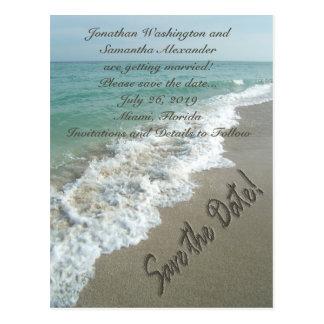 Escritura de la arena en la reserva de la playa la postales