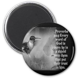 ESCRITURA de la BIBLIA del 30:5 de los proverbios  Imán Redondo 5 Cm