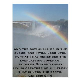Escritura de la biblia del arco iris tarjetas postales