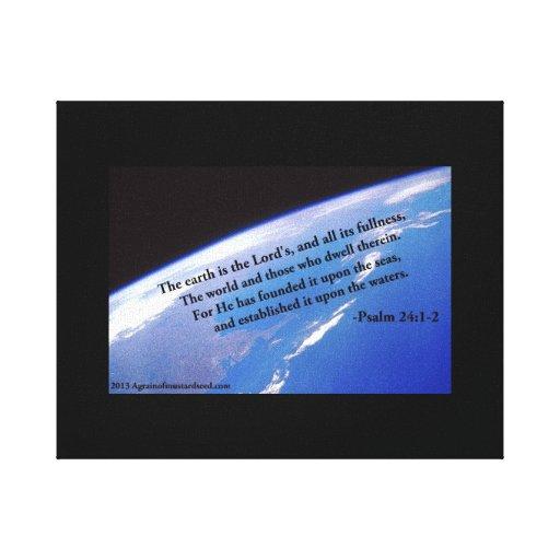 Escritura de la biblia inspirada impresión en lona