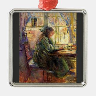 Escritura de la chica joven de Berthe Morisot Adorno Cuadrado Plateado