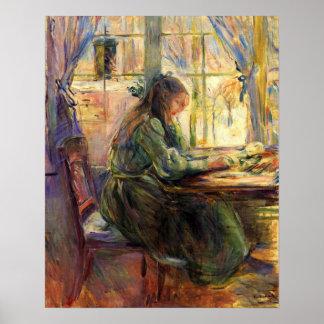 Escritura de la chica joven de Berthe Morisot Póster