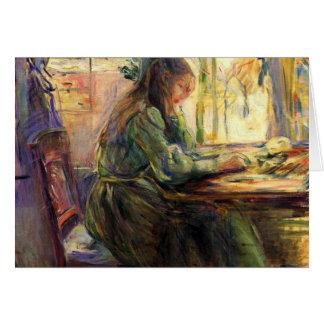 Escritura de la chica joven de Berthe Morisot Tarjeta Pequeña