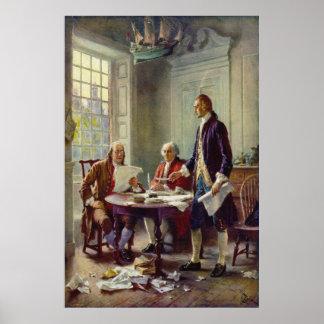 Escritura de la Declaración de Independencia por F Poster