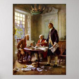 Escritura de la Declaración de Independencia Póster