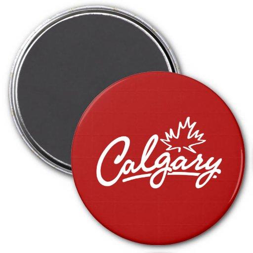 Escritura de la hoja de Calgary Imán Redondo 7 Cm
