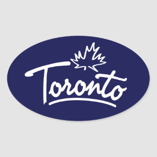 Escritura de la hoja de Toronto Pegatina Ovalada