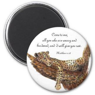 Escritura de la inspiración, animal del leopardo imán redondo 5 cm