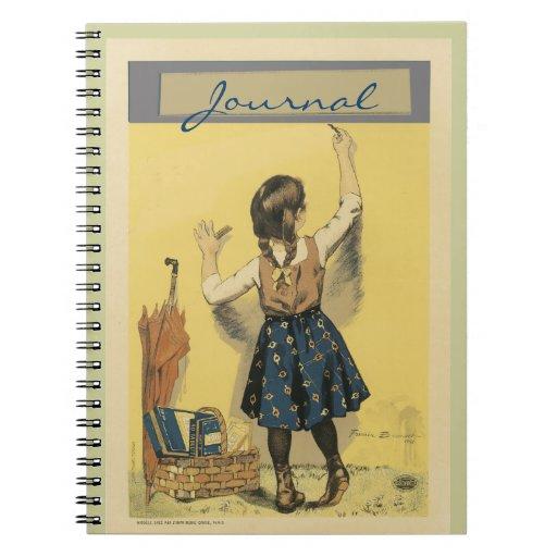 Escritura de la niña en la pared - cuaderno