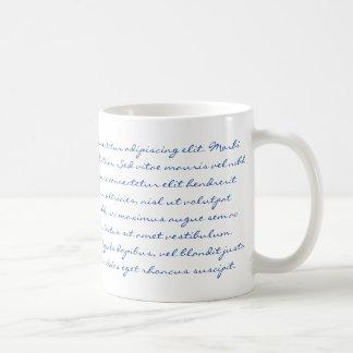Escritura de Lorem Ipsum - texto azul Taza