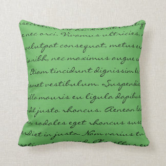 Escritura de Lorem Ipsum - texto verde negro Cojín