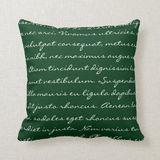 Escritura de Lorem Ipsum - texto verde oscuro Cojín