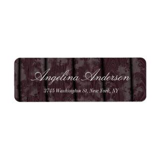 Escritura de madera elegante elegante de Brown Etiqueta De Remitente