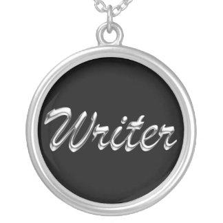 Escritura de mirada metálica del escritor collar personalizado
