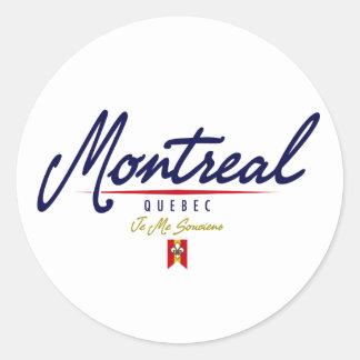 Escritura de Montreal Pegatina Redonda