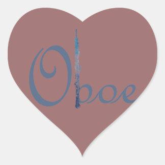 Escritura de Oboe Pegatina En Forma De Corazón