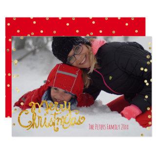 """Escritura de oro de las Felices Navidad Invitación 5"""" X 7"""""""