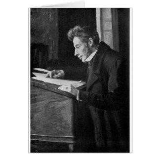 Escritura de Soren Kierkegaard en su escritorio Tarjeta De Felicitación