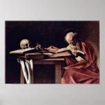 Escritura de St Jerome de Miguel Ángel Merisi DA C Poster