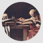 Escritura de St Jerome de Miguel Ángel Merisi DA Etiqueta Redonda