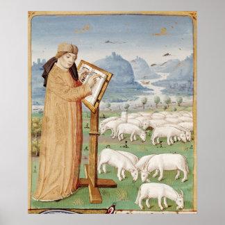 Escritura de Virgil en un campo de ovejas y de cab Impresiones