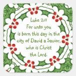 Escritura del 2:11 de Lucas para el navidad con ac Calcomanía Cuadradas Personalizadas
