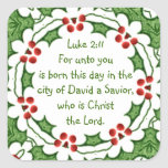 Escritura del 2:11 de Lucas para el navidad con Pegatina Cuadrada
