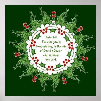 Escritura del 2:11 de Lucas para el navidad con Póster