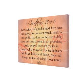 Escritura del amor de la escritura de la biblia en lona estirada galerias