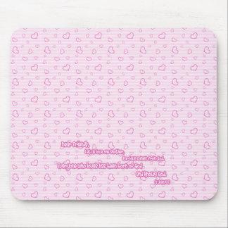 Escritura del amor rosa tapete de ratón