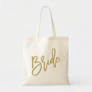 Escritura del brillo del oro de la novia bolsa tela barata