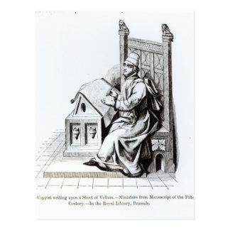Escritura del Copyist sobre una hoja de la vitela Tarjeta Postal